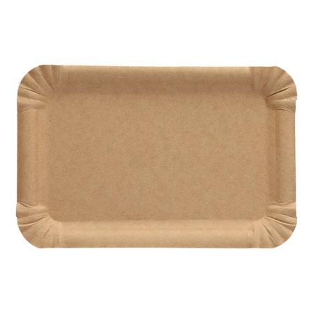 Nachhaltiger, brauner, eckiger Pappteller