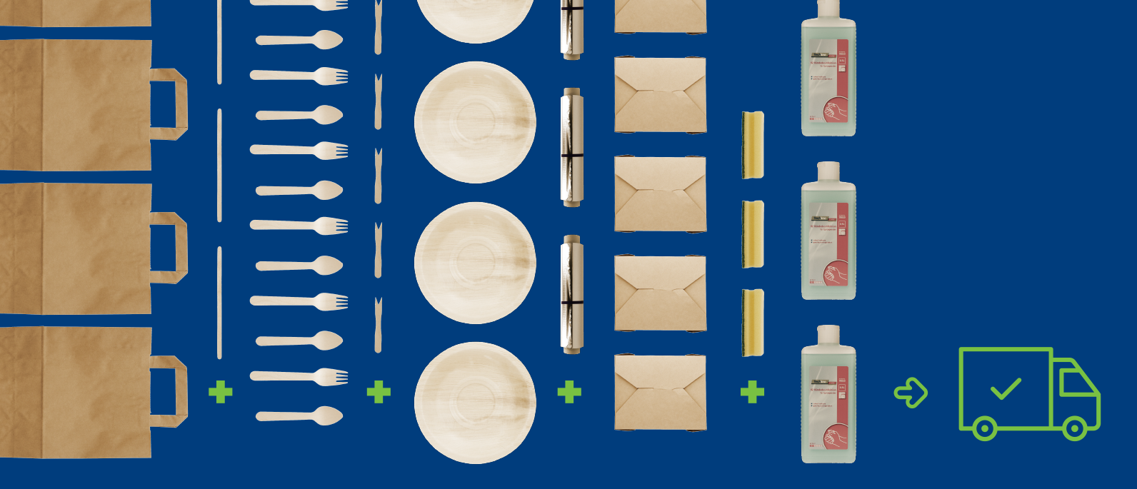 Papiertragetaschen, Rührstäbchen, Pommesgabel, Birkenholzbesteck, Palmblattteller, Alufolie, Menüboxen, Spülschwämme, Handdesinfektionsmittel