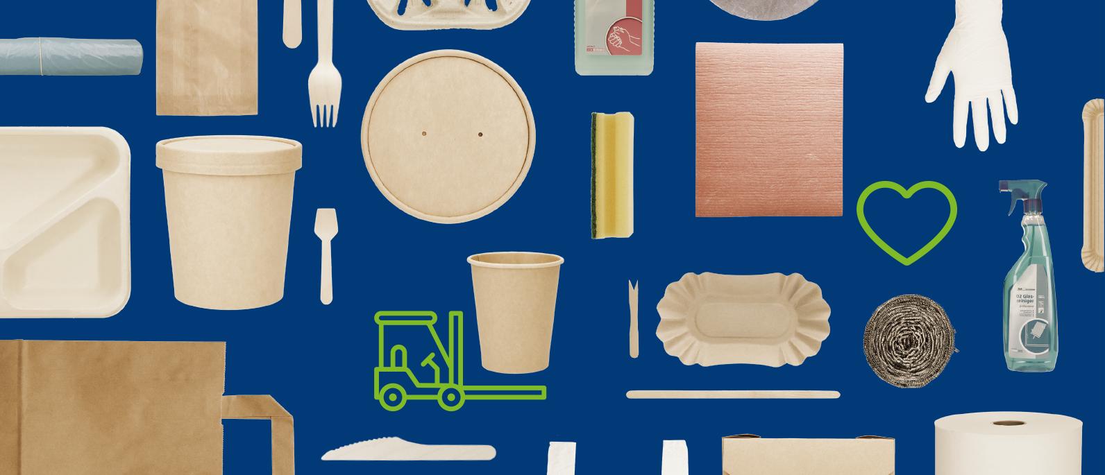 Papiertragetaschen, Suppenbecher, Birkenholzbesteck, Eislöffel, Kaffeebecher, Pommesschale, Pommesgabel, Handschuhe, Nitril-Handschuhe, Spülschwamm, Müllbeutel