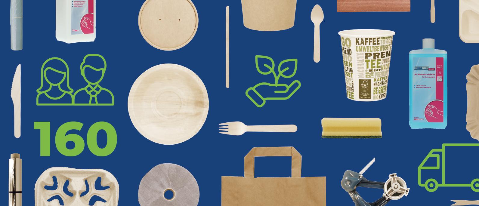 Nachhaltige Papiertragetaschen, Suppenbecher, Birkenholzbesteck, Eislöffel, Kaffeebecher, Pommesschale, Spülschwamm, Handdesinfektionsmittel, Kaffeebecherhalter, Müllbeutel